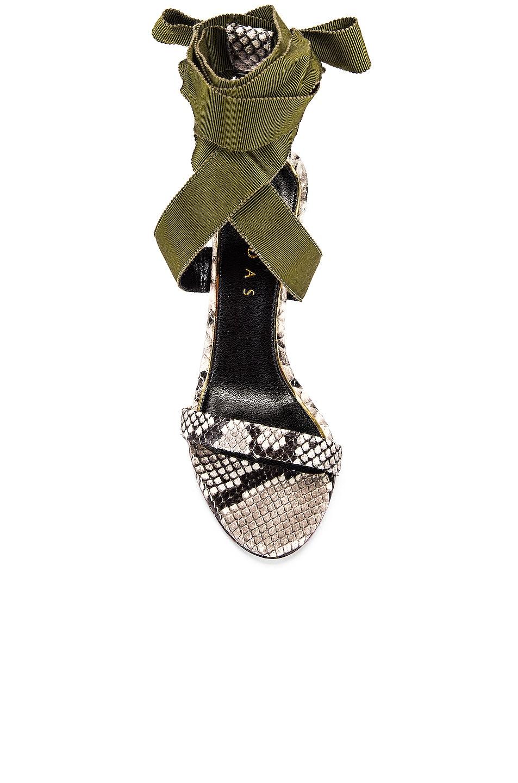 Image 4 of Dundas Printed Python Ribbon Heels in Khaki
