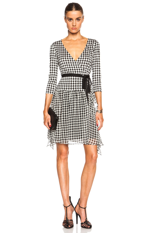 Image 1 of Diane von Furstenberg Riviera Gingham Dress in Small Black