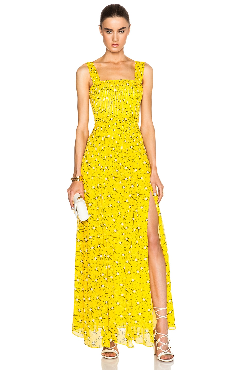 Image 1 Of Diane Von Furstenberg Lillie Chiffon Dress In Sunlight Yellow