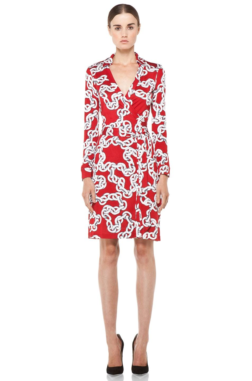 7e33f043291 Image 1 of Diane von Furstenberg New Jeanne Dress in Chains Deep Red