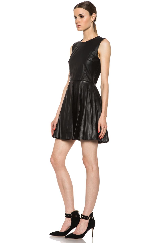Image 2 Of Diane Von Furstenberg Jeannie Leather Dress In Black