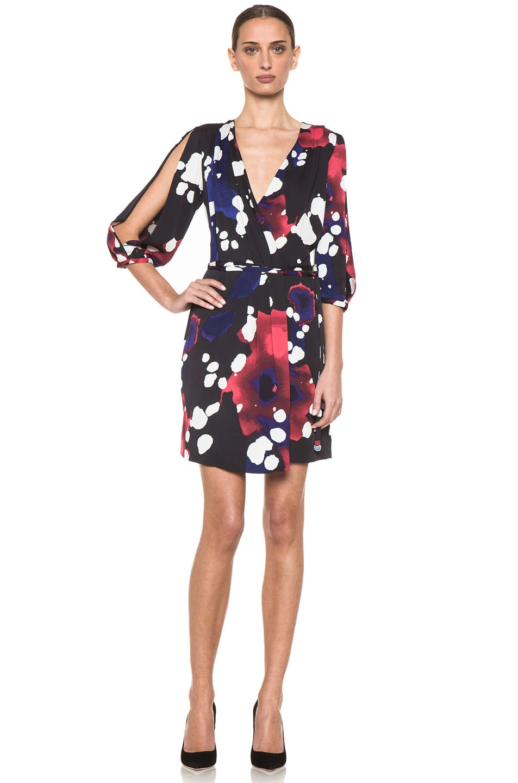 Image 1 of Diane von Furstenberg Autumn Dress in Explosion of Color Black