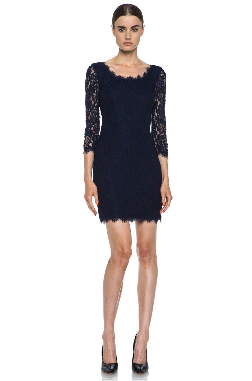 Image 1 of Diane von Furstenberg Zarita Lace Knit Scoop Dress in Navy