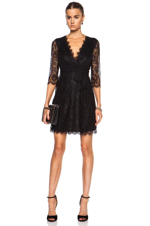 Image 1 of Diane von Furstenberg Elisabeth Lace Wrap Dress in Black