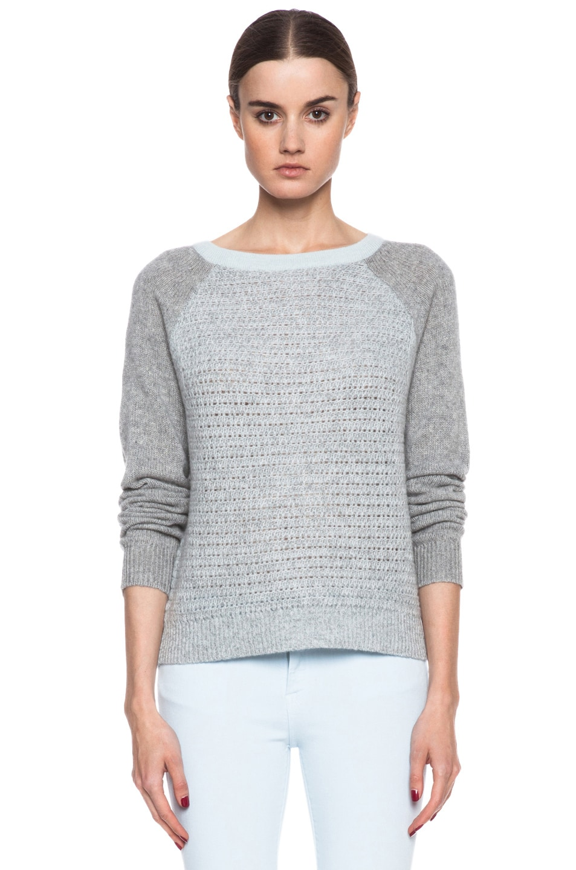 Image 1 of Diane von Furstenberg Nanette Cotton Sweater in Sea Mist & Heather Grey