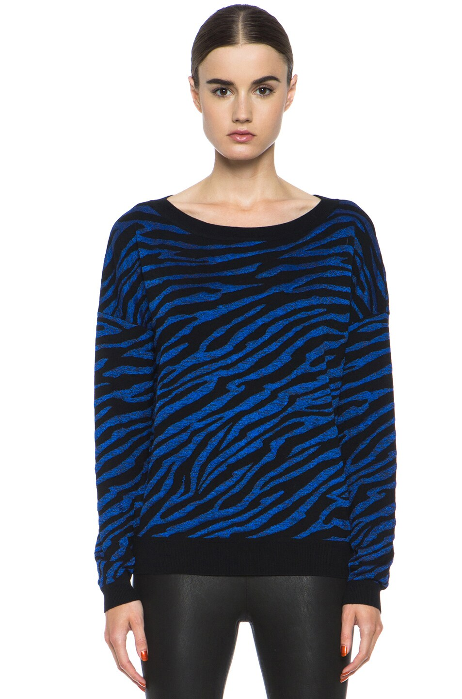 Image 1 of Diane von Furstenberg Estelle Sweater in Black & Tanzanite Blue