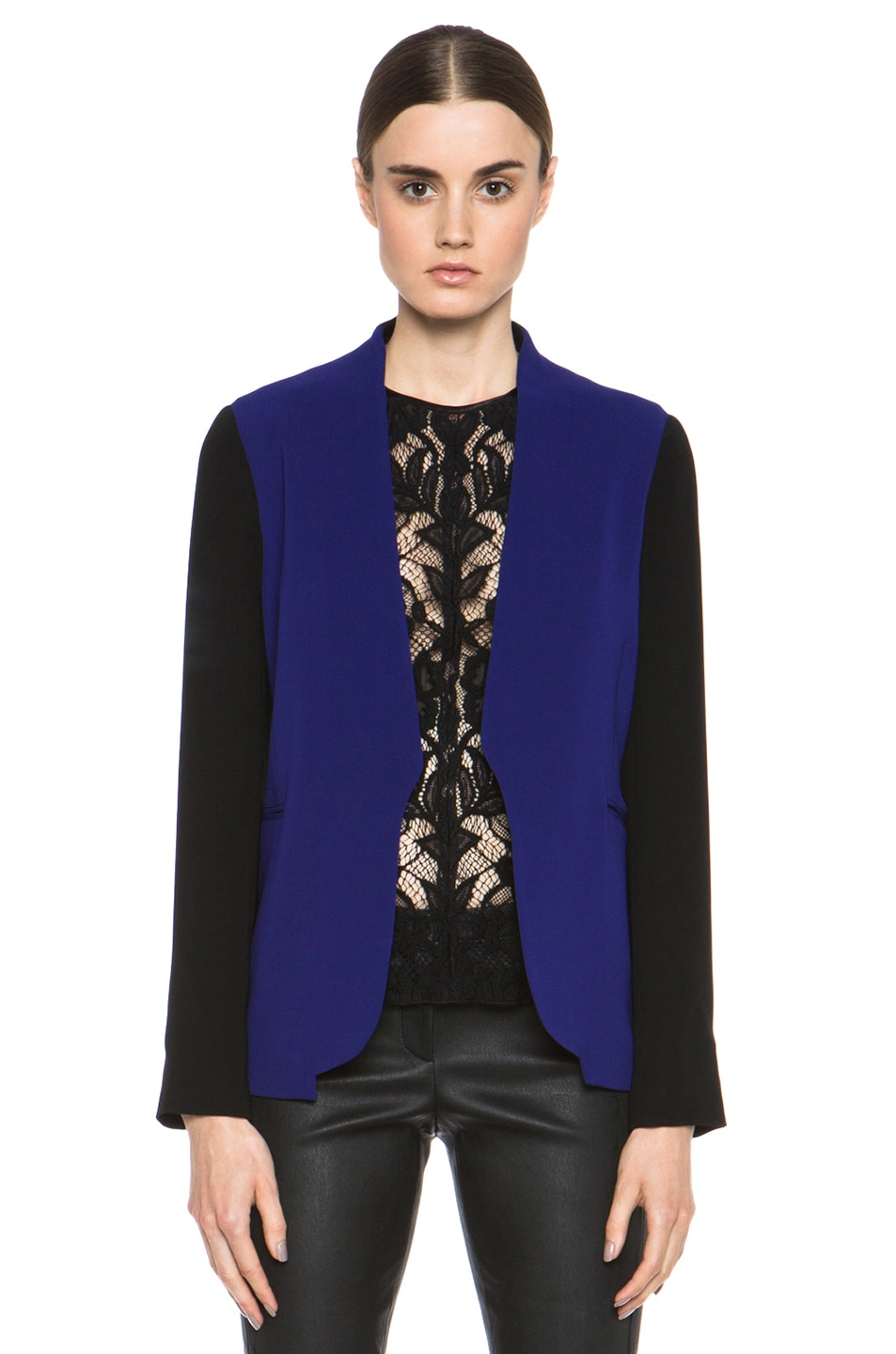 Image 1 of Diane von Furstenberg Paulette Triacetate-Blend Blazer in Vivid Blue & Black