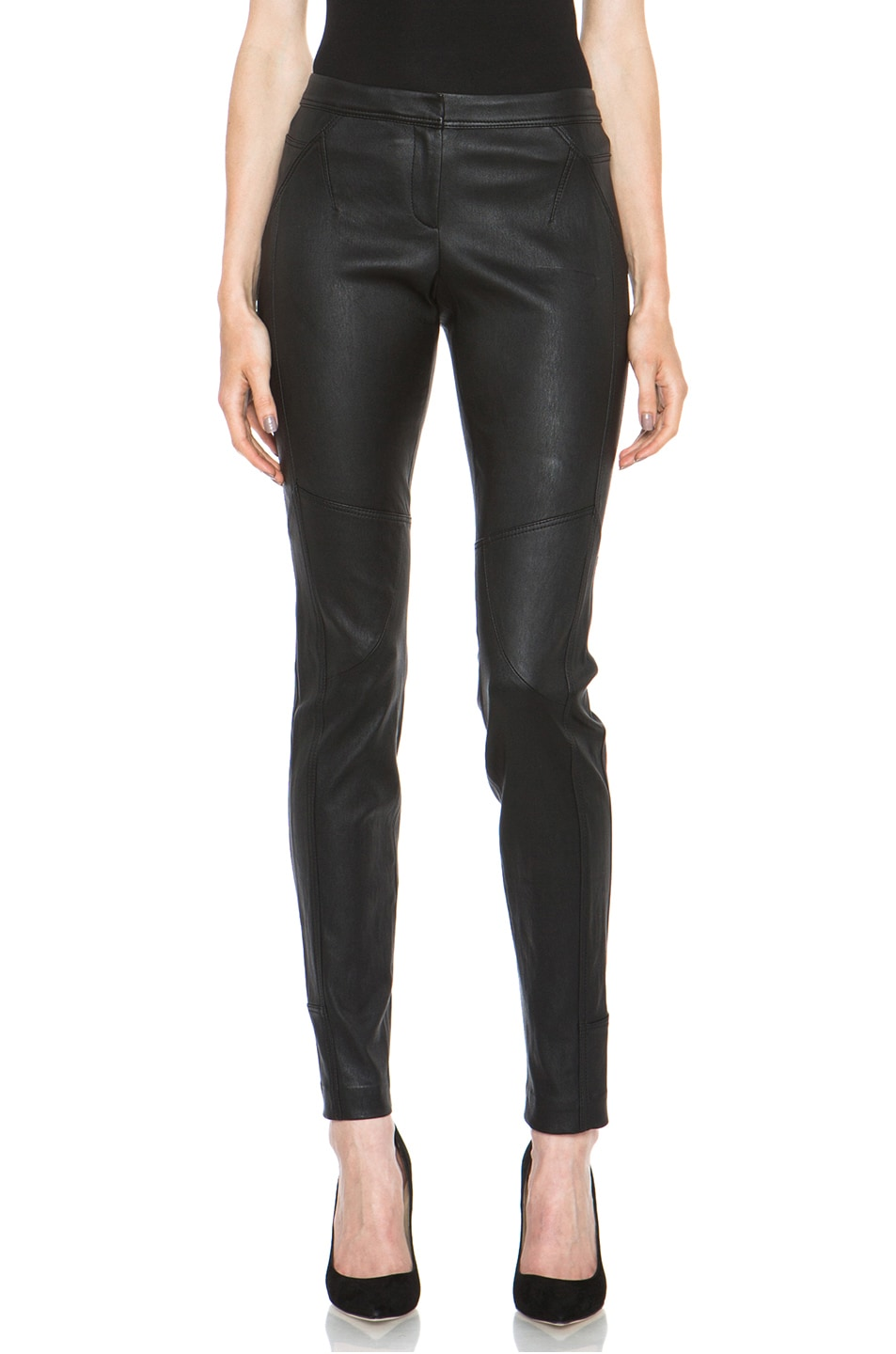 Image 1 of Diane von Furstenberg Liberty Leather Pant in Black