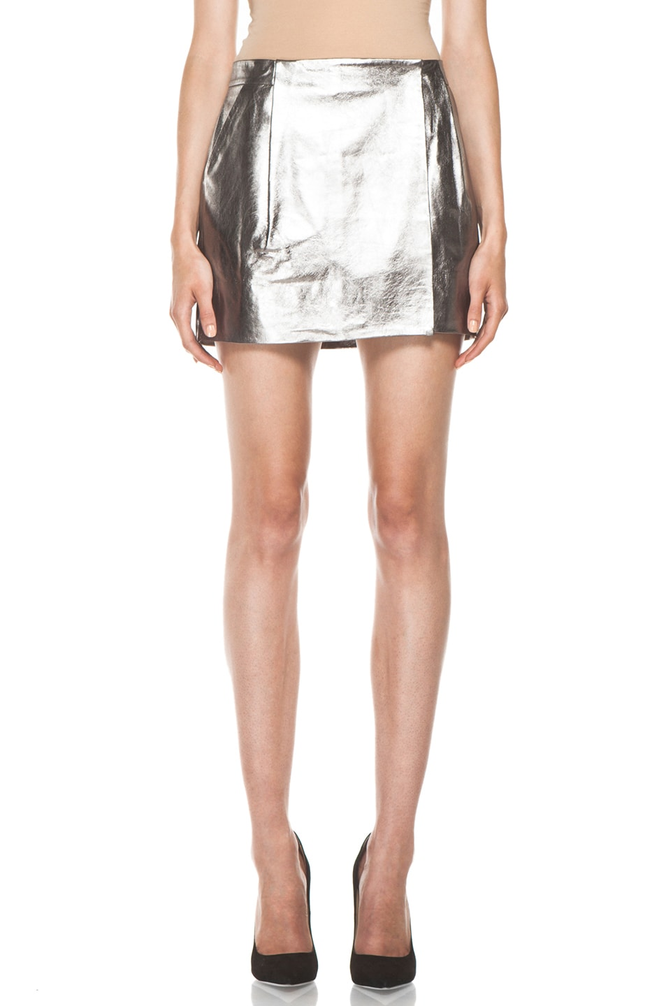 Image 1 of Diane von Furstenberg Melissa Metallic Leather Skirt in Silver