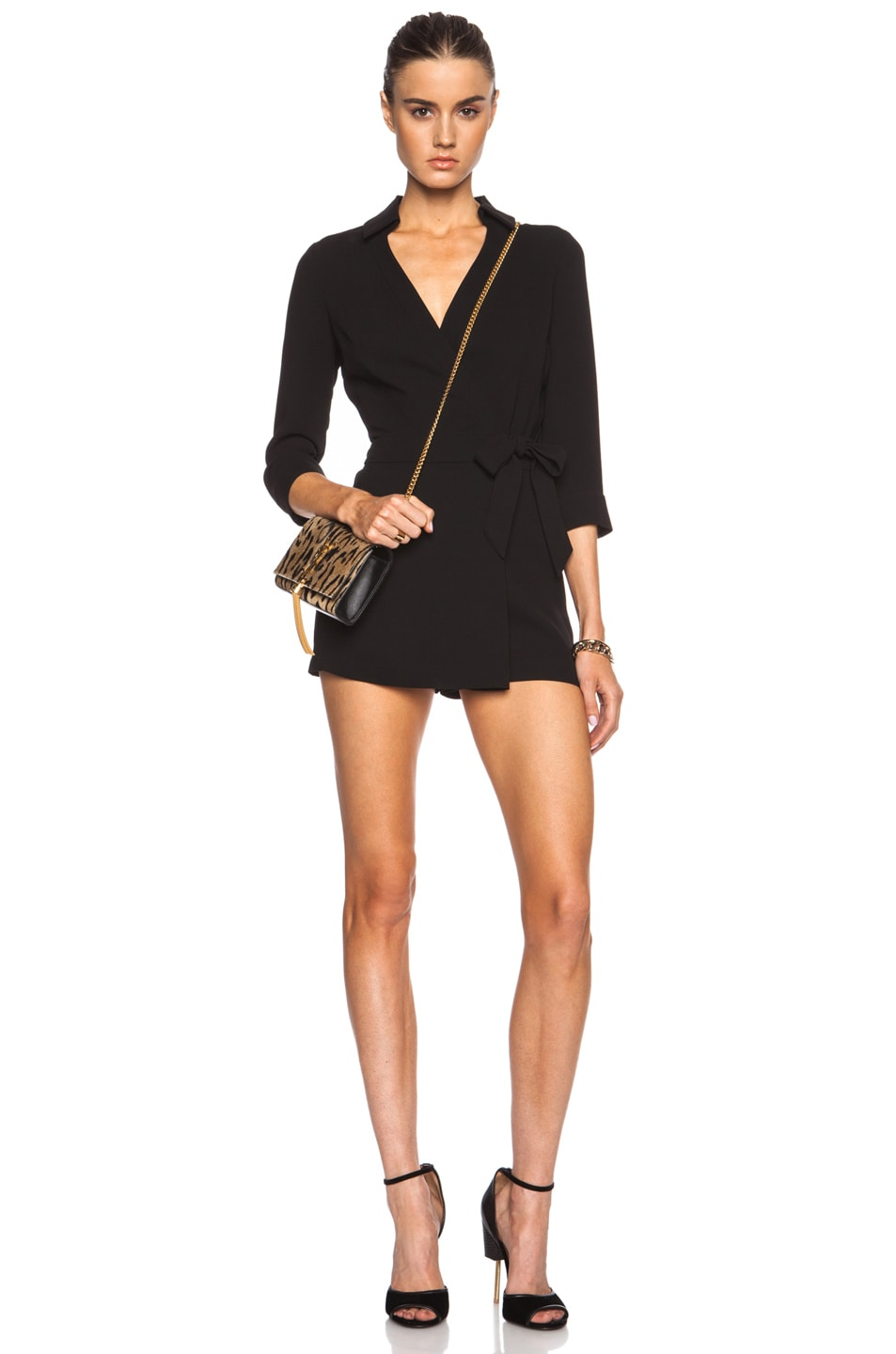 f9536ead05b3 Image 1 of Diane von Furstenberg Celeste Triacetate-Blend Romper in Black