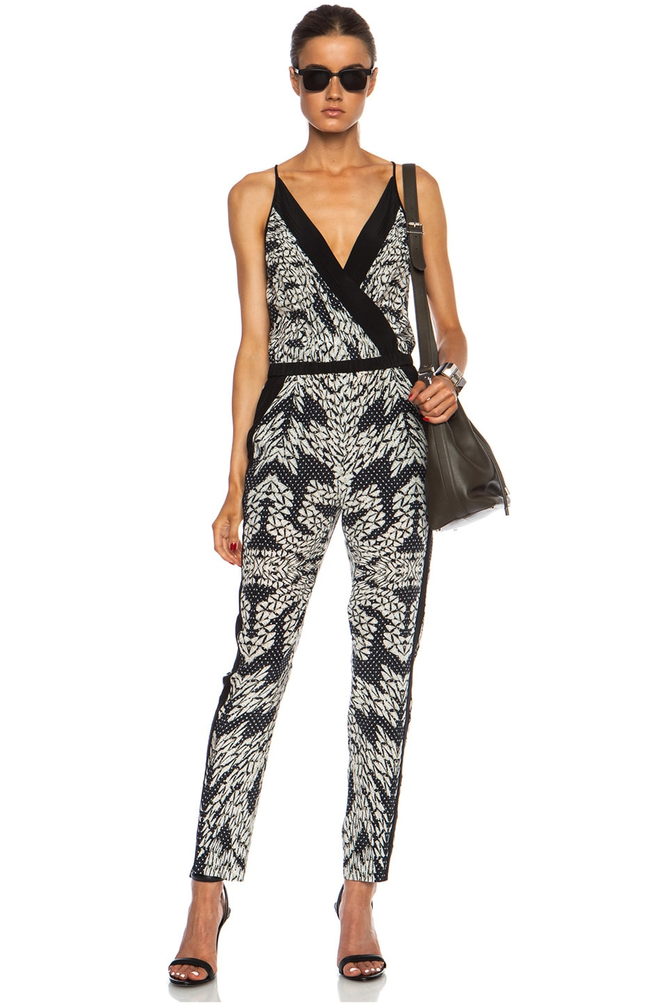 Image 1 of Diane von Furstenberg Shany Silk Jumper in Panther Lace Black