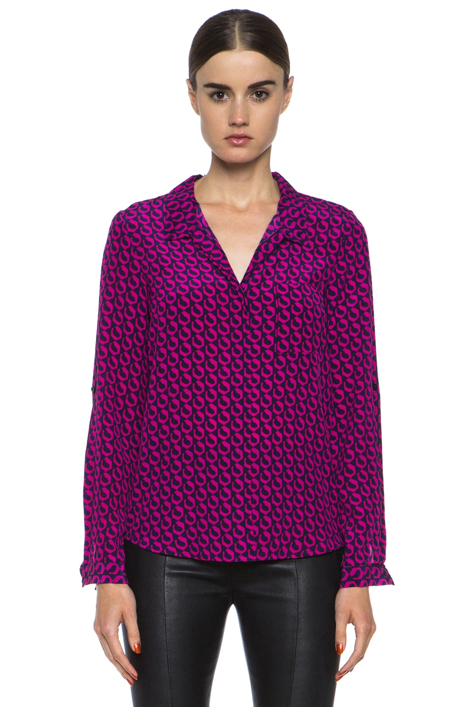 8f784d84671060 Image 1 of Diane von Furstenberg Lorelei Print Silk Shirt in Leo Chain Mini  Pink