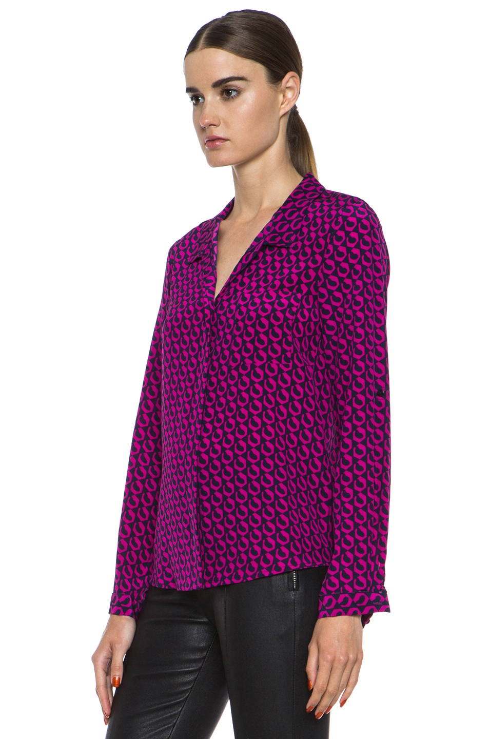 efa9515ea690f2 Image 2 of Diane von Furstenberg Lorelei Print Silk Shirt in Leo Chain Mini  Pink