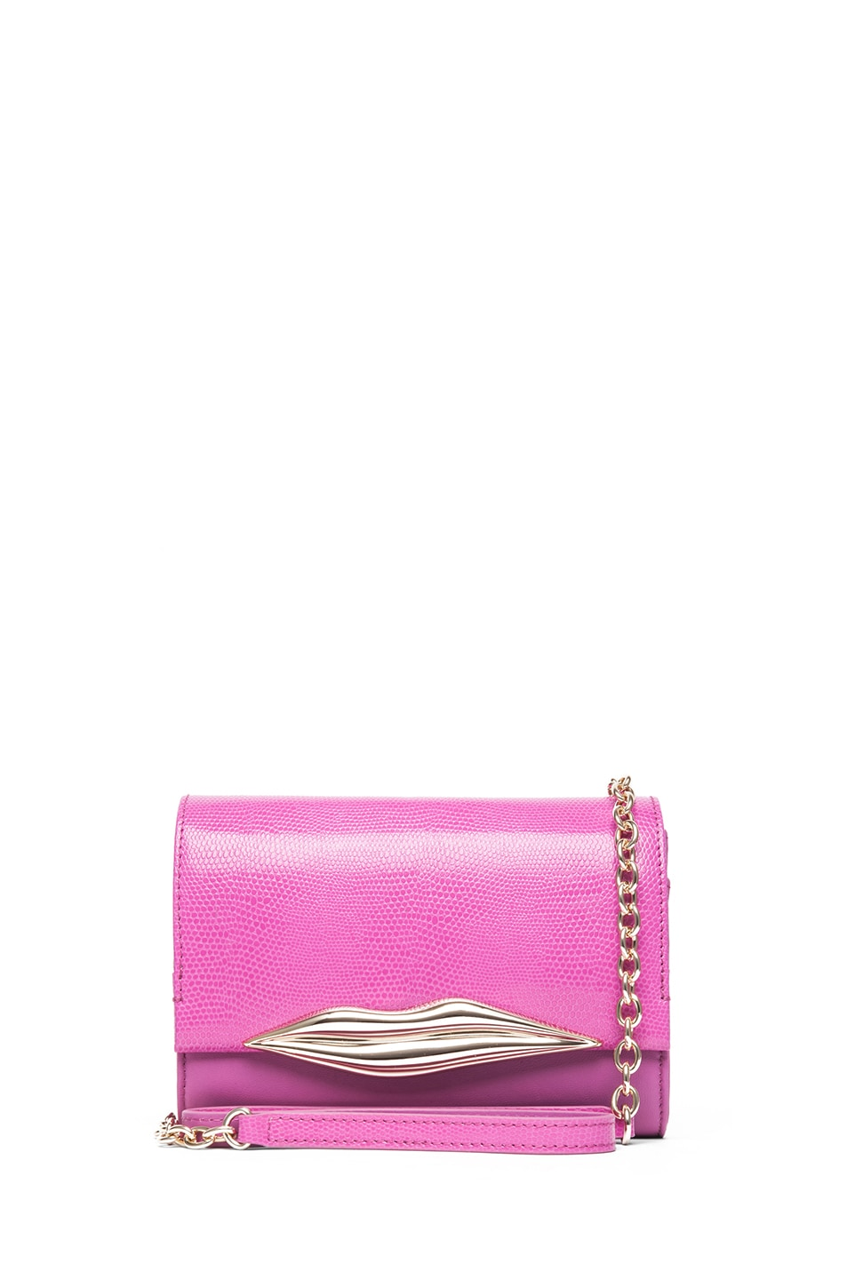 Image 1 of Diane von Furstenberg Mini Lips Embossed Lizard Leather Bag in Pink Fuchsia