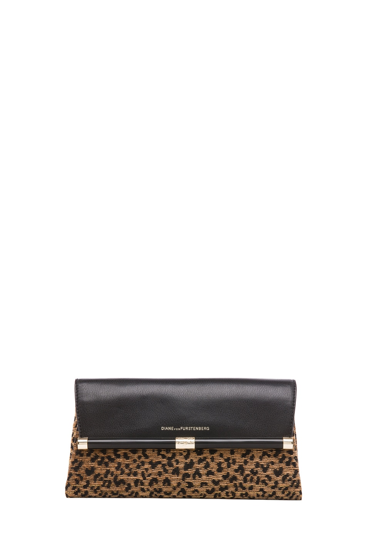 Image 1 of Diane von Furstenberg Envelope Leopard Jacquard Clutch in Black & Brown