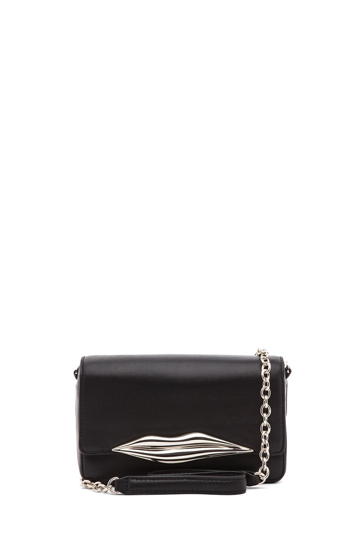 Image 1 of Diane von Furstenberg Mini Flirty Leather Crossbody in Black