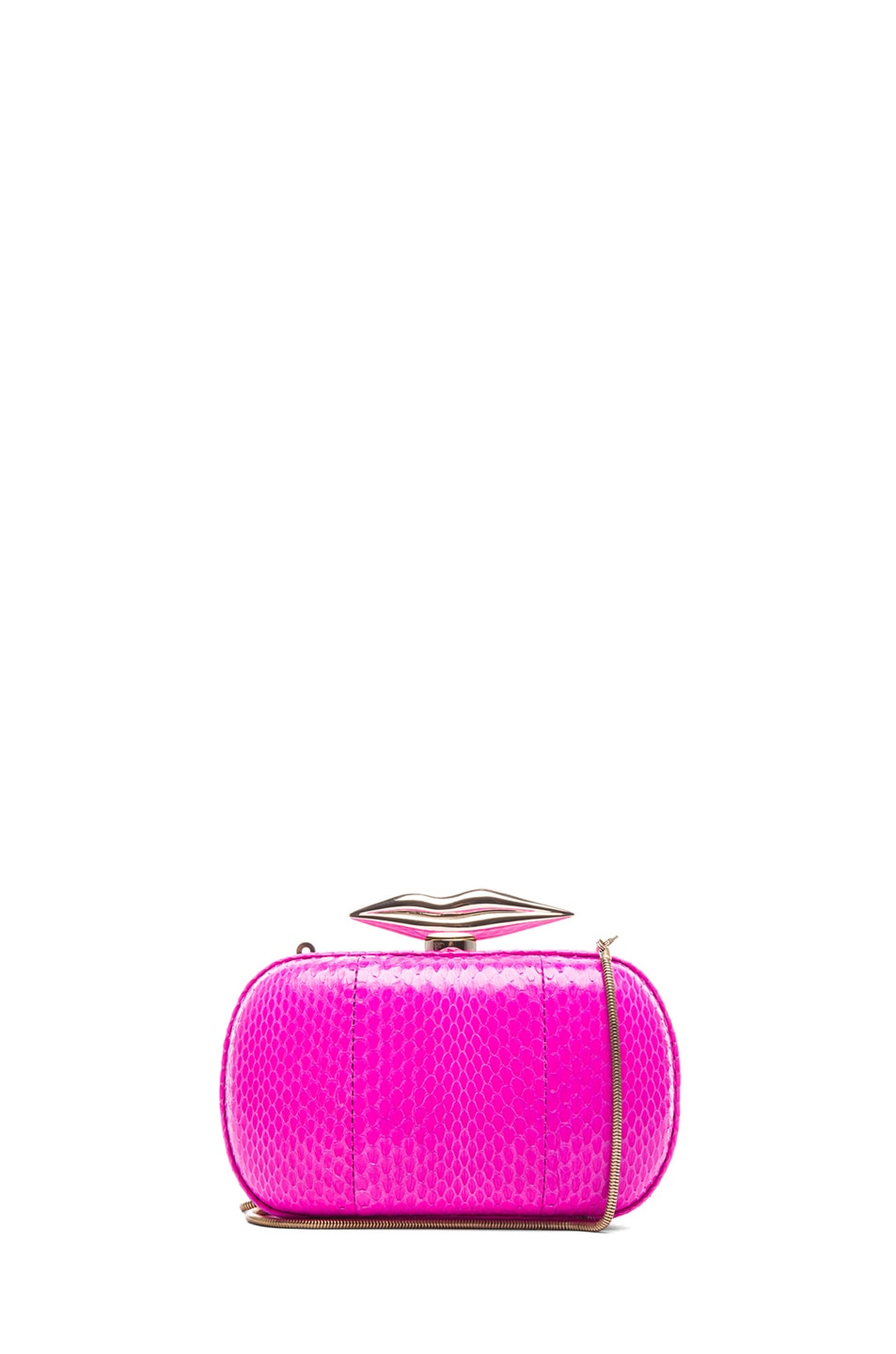 Image 1 of Diane von Furstenberg Minaudiere Flirty Snake Clutch in Fetish Pink