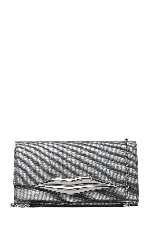 Image 1 of Diane von Furstenberg Carolina Lips Metallic Canvas in Silver