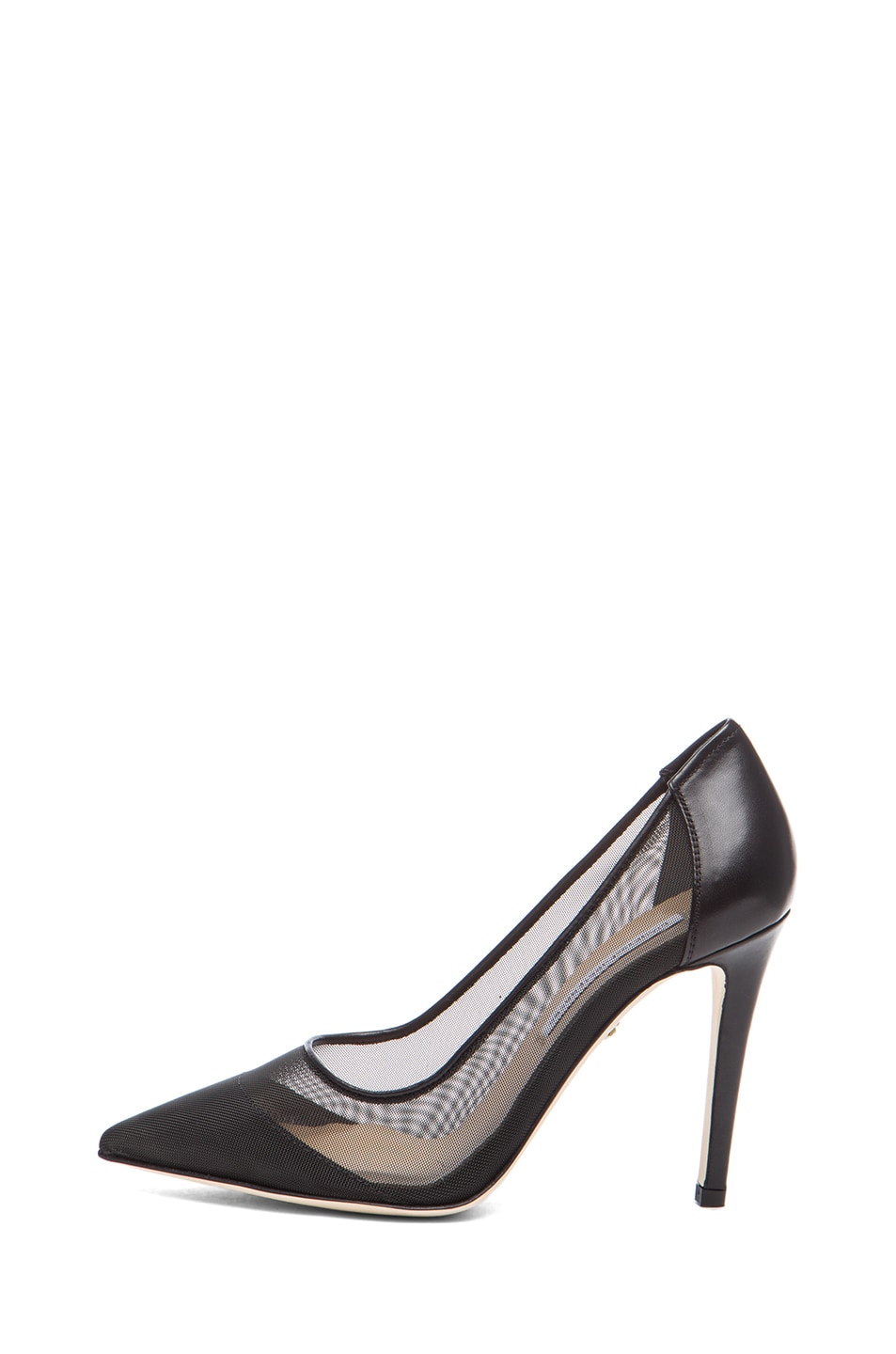 Image 1 of Diane von Furstenberg Bianca Mesh & Leather Pumps in Black