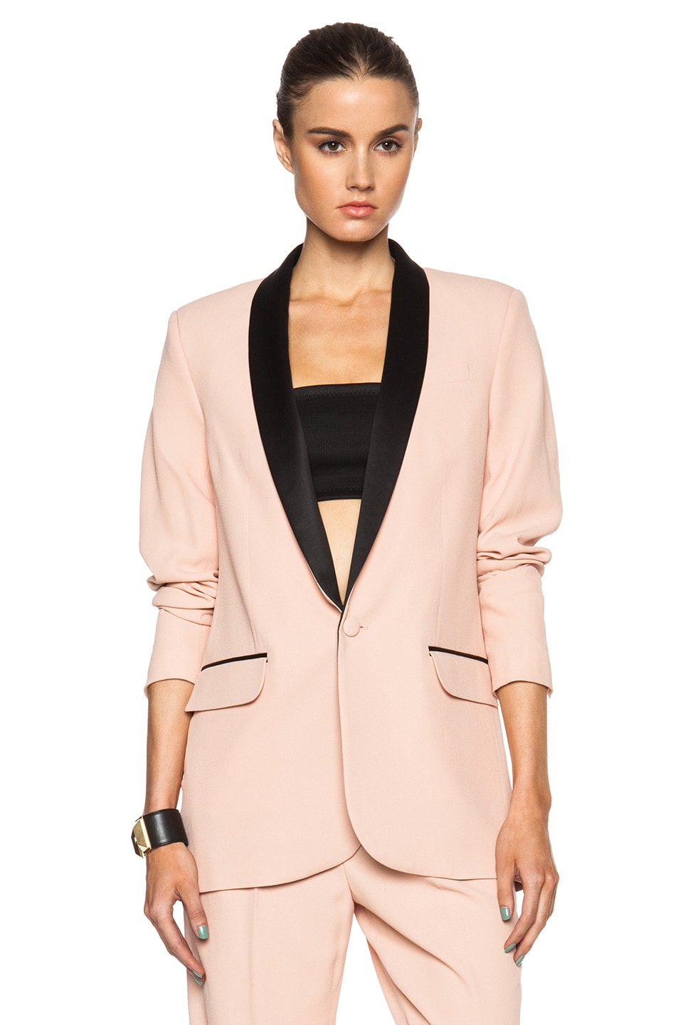 Image 2 of EACH x OTHER Tuxedo Jacket in Black & Nude