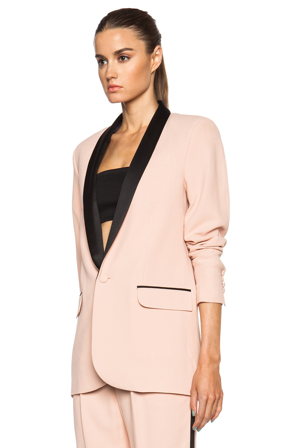 Image 3 of EACH x OTHER Tuxedo Jacket in Black & Nude