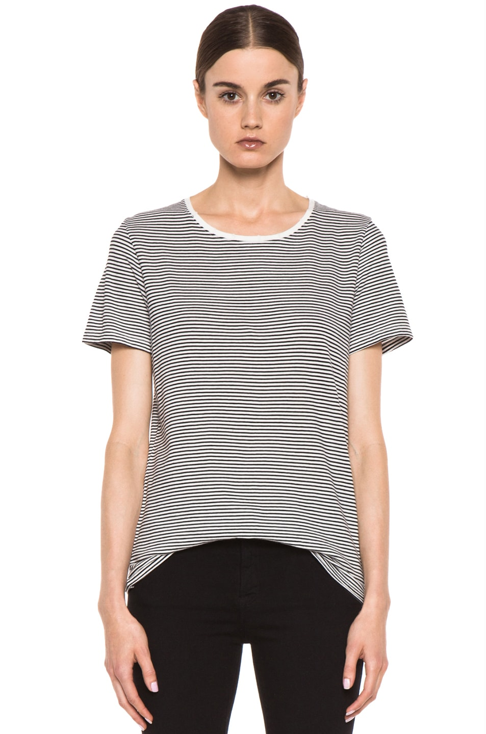 Image 1 of EACH x OTHER Washed Striped Tee in White & Black