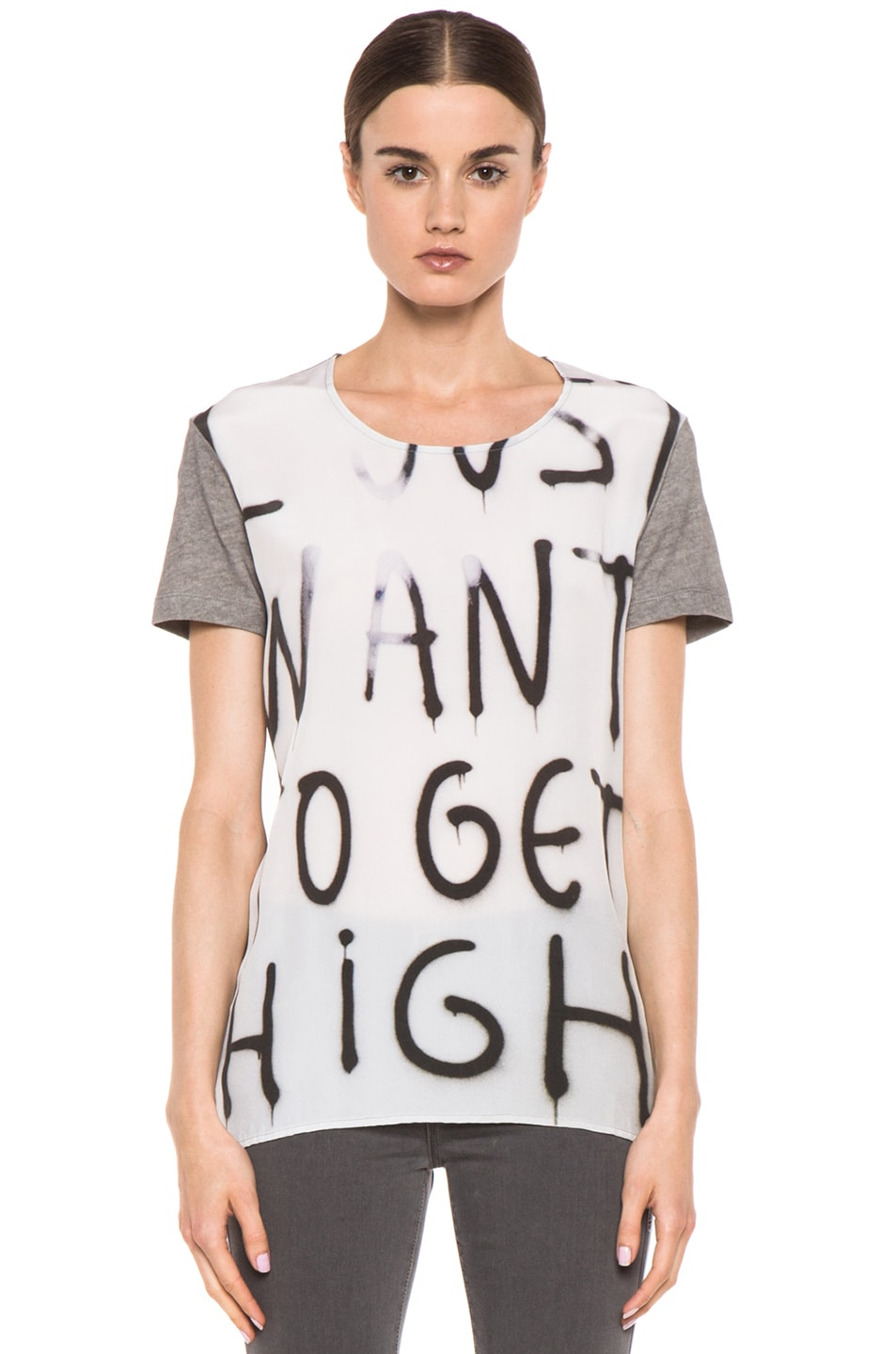 Image 1 of EACH x OTHER By Thomas Lelu Unique 'Want to Get High' Tee in Grey