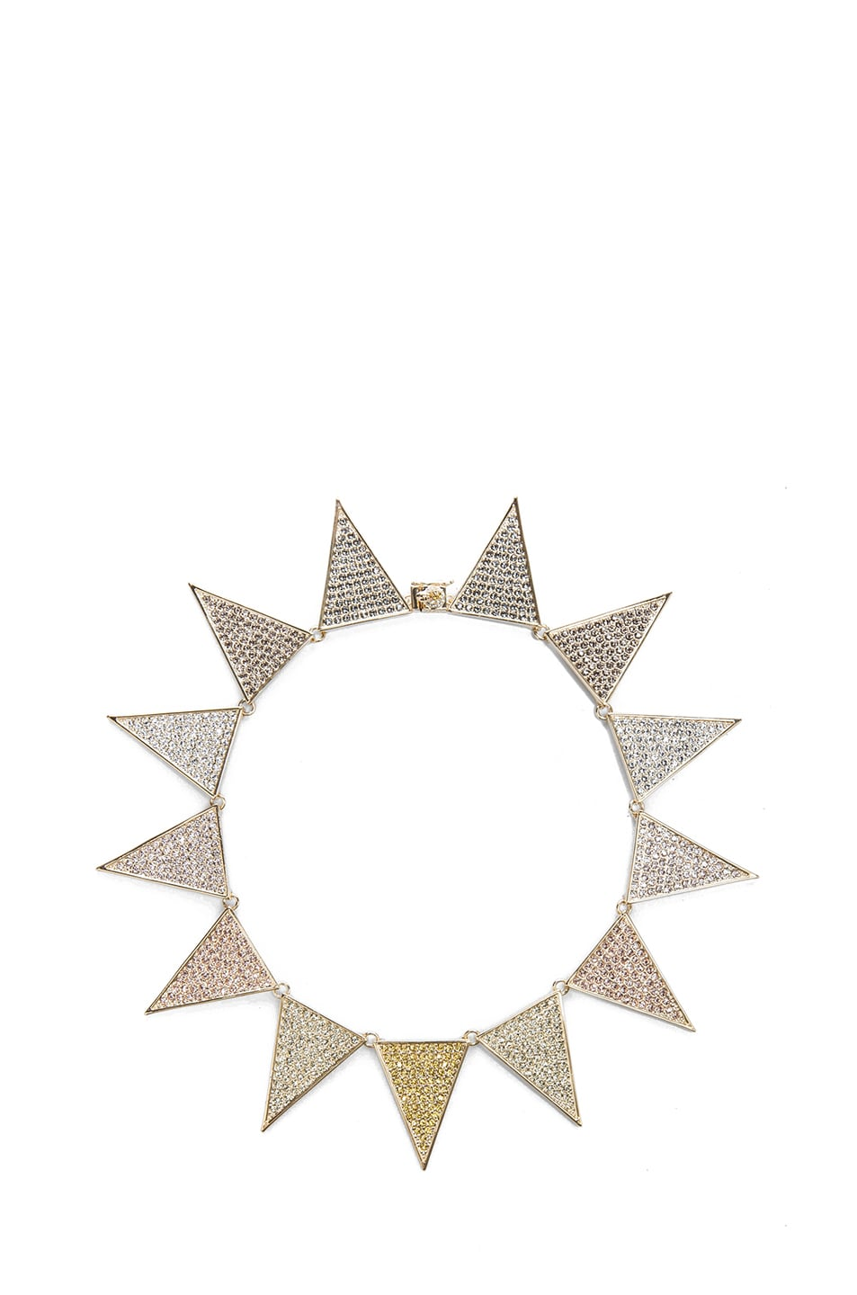 Image 1 of Eddie Borgo Large Pave Plated Flat Triangle Necklace in Gold