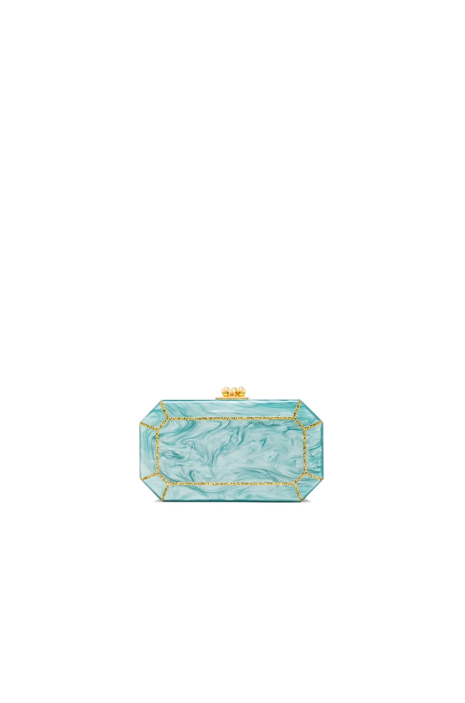 Image 1 of Edie Parker Fiona Faceted Clutch in Gold Glitter & Teal