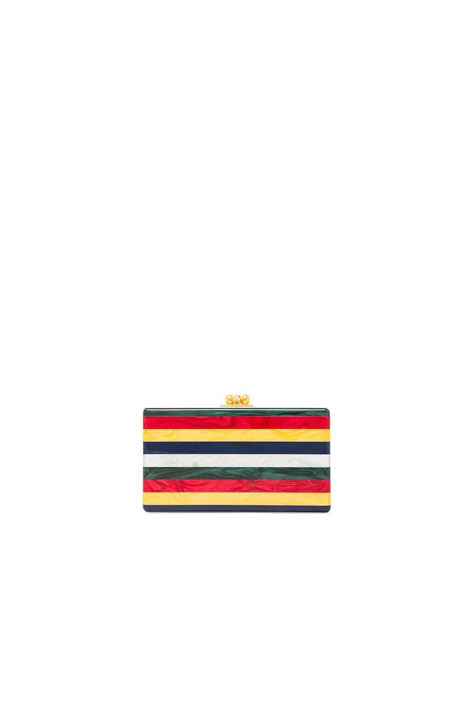 Image 1 of Edie Parker Jean Striped Clutch in White Multi