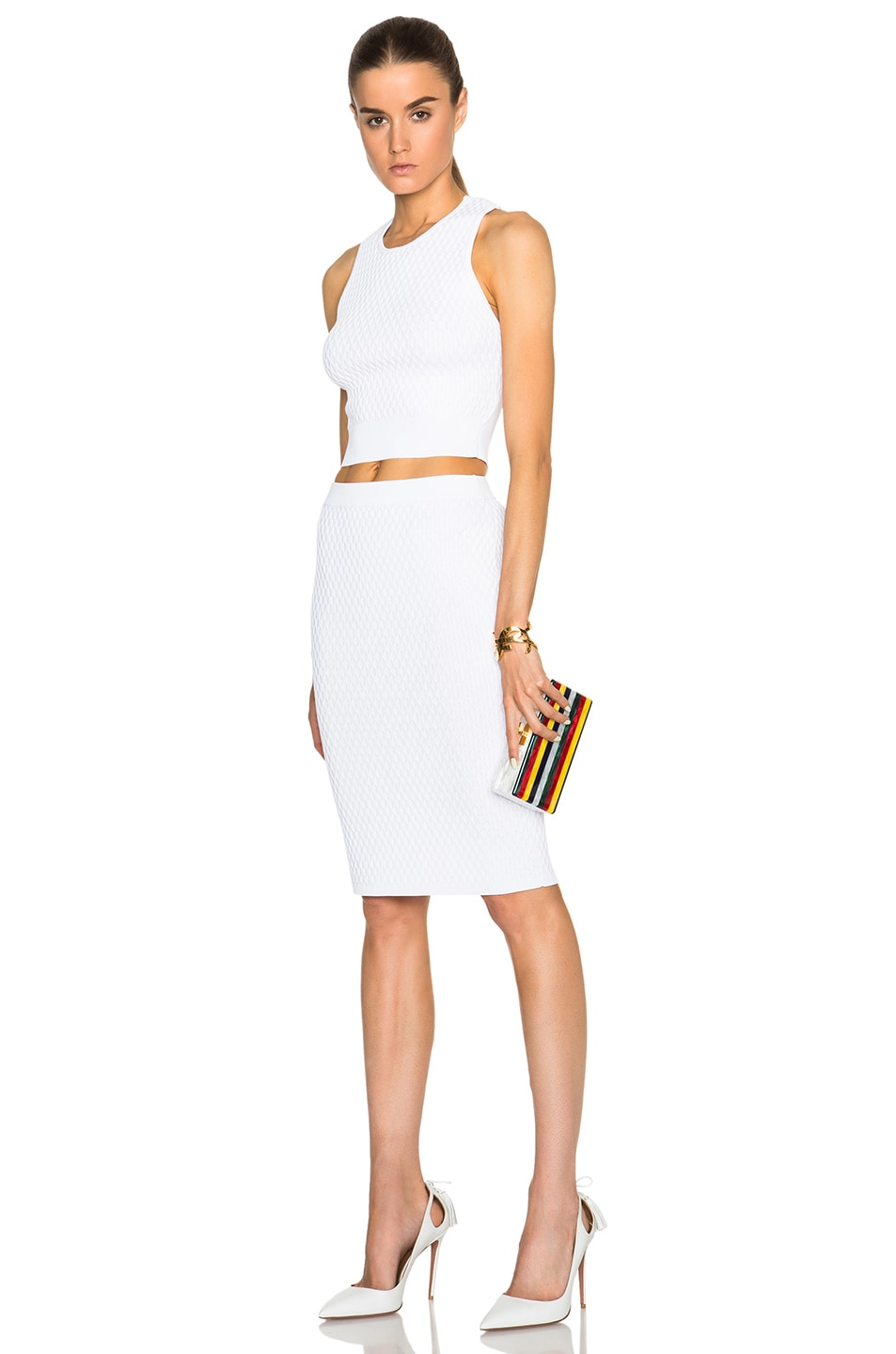 Image 2 of Edie Parker Jean Striped Clutch in White Multi