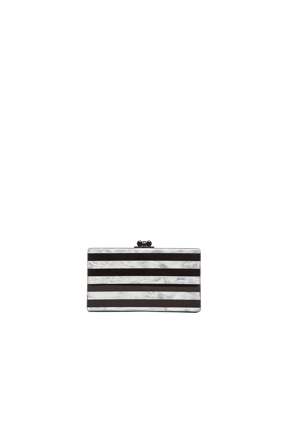 Image 1 of Edie Parker Jean Striped Clutch in Black & White