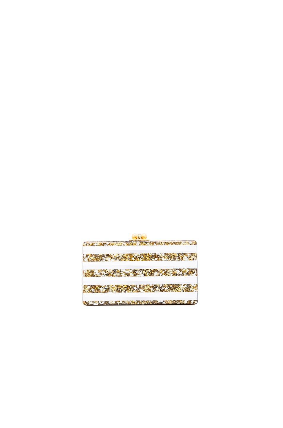 Image 1 of Edie Parker Jean Striped Clutch in Gold & Silver