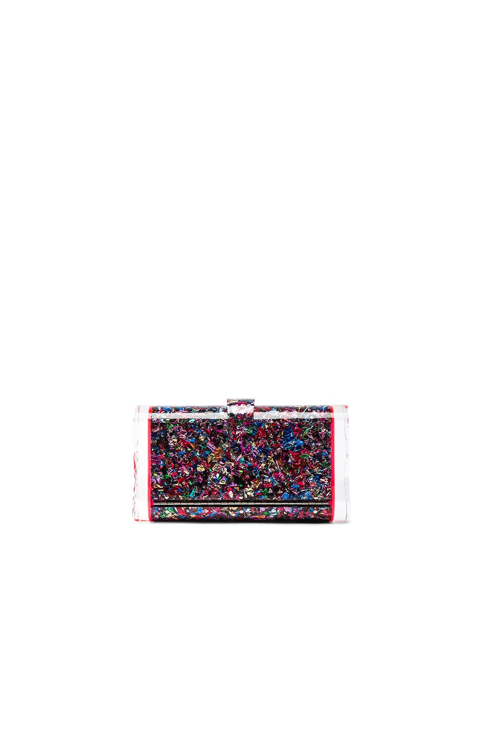 Image 1 of Edie Parker Lara Backlit Clutch in Rainbow Confetti & Red Fluorescent