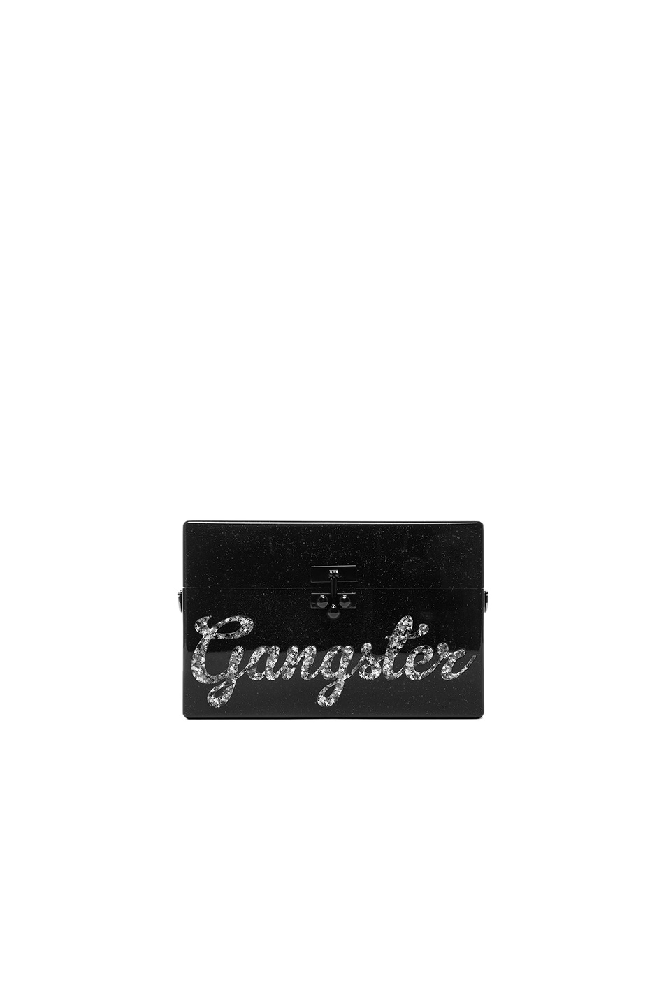 Image 1 of Edie Parker Small Trunk Gangster Clutch in Obsidian & Silver Stars