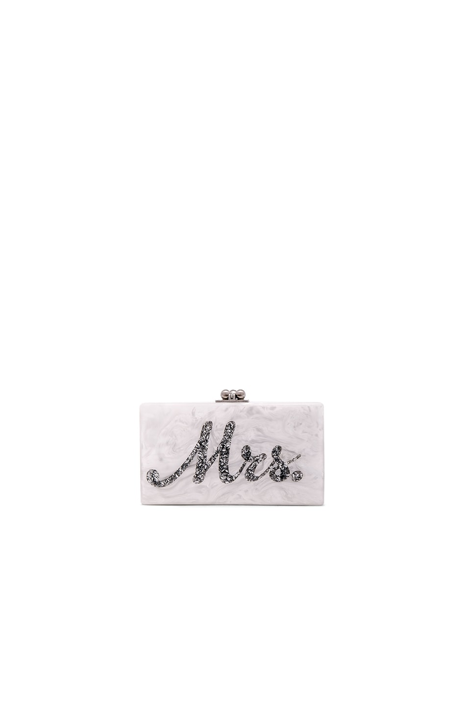 Image 1 of Edie Parker Mrs. Clutch in White & Silver Confetti