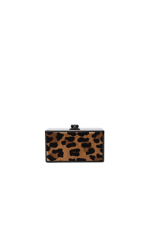 Image 1 of Edie Parker Jean Leopard Panel Clutch in Obsidian & Multi