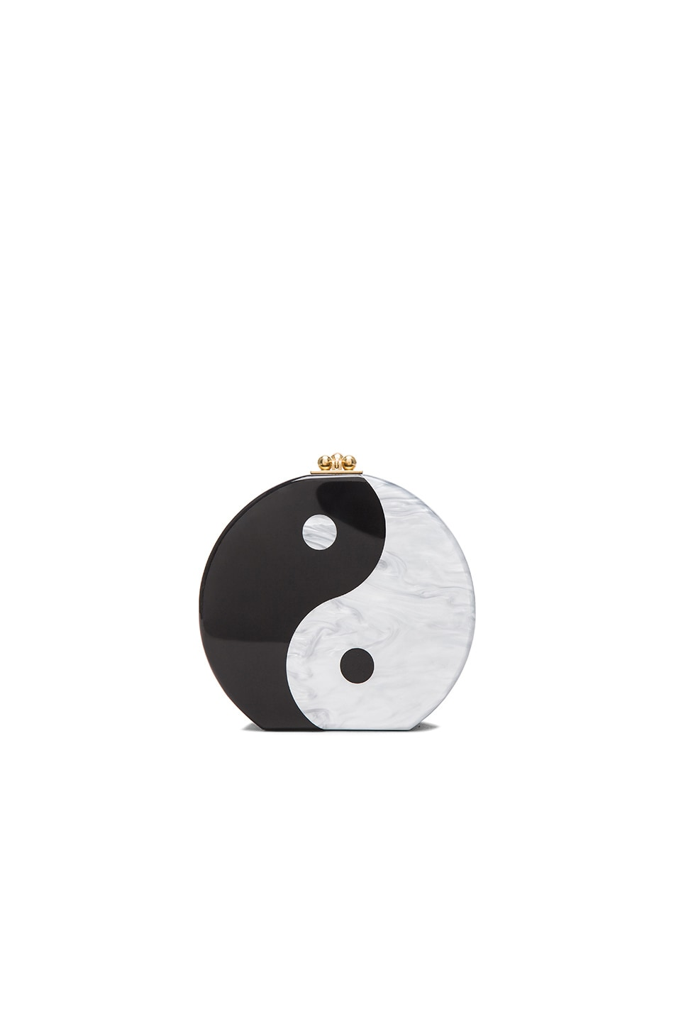 Image 1 of Edie Parker Oscar Yin Yang Chain Clutch in Obsidian Sand & White