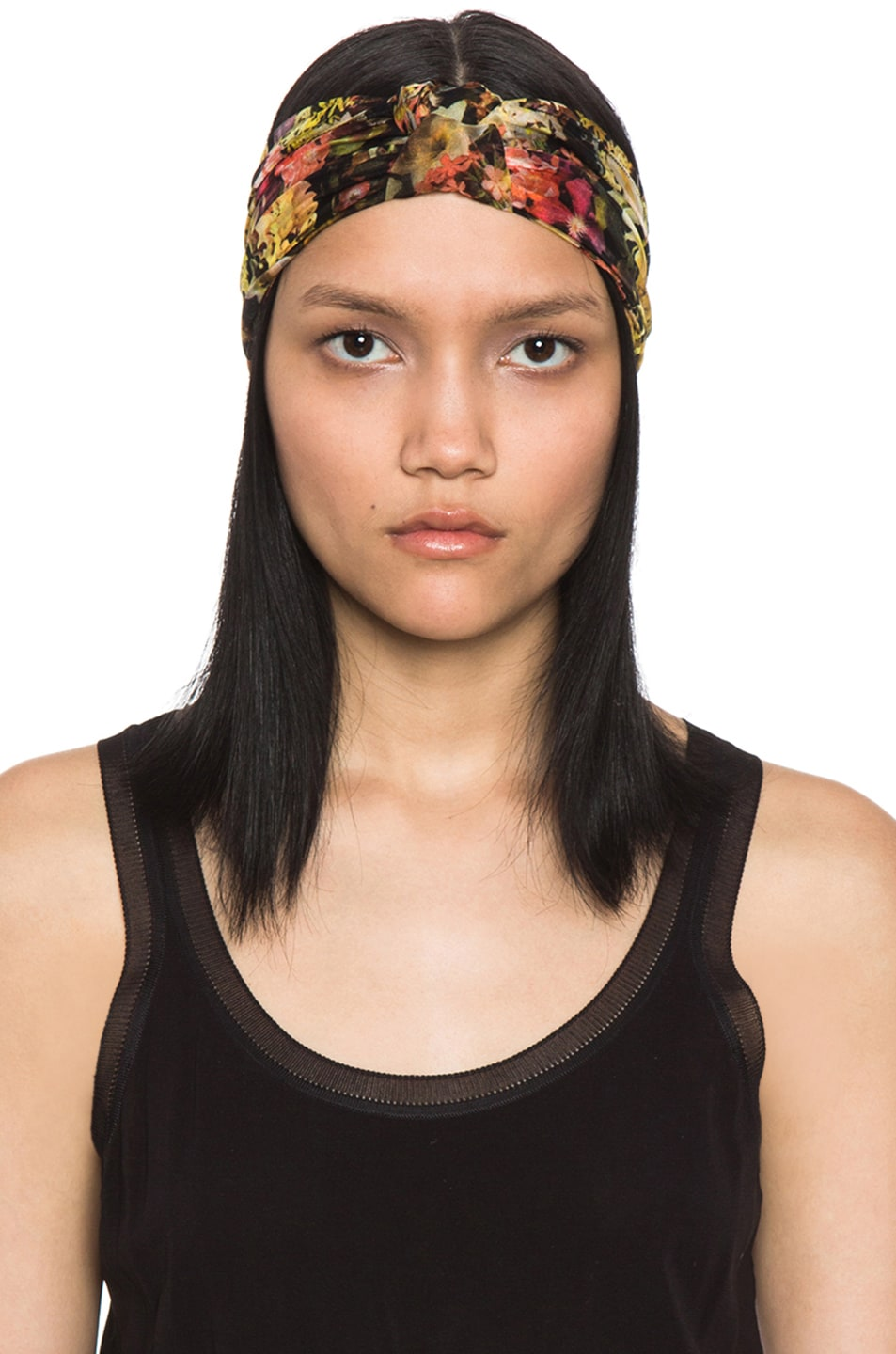 Image 1 of Eugenia Kim Natalia Floral Chiffon Turban Headband in Black & Multi