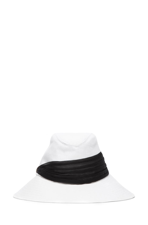 Image 1 of Eugenia Kim Jordana Linen Wide Brim Fedora in Ivory & Black