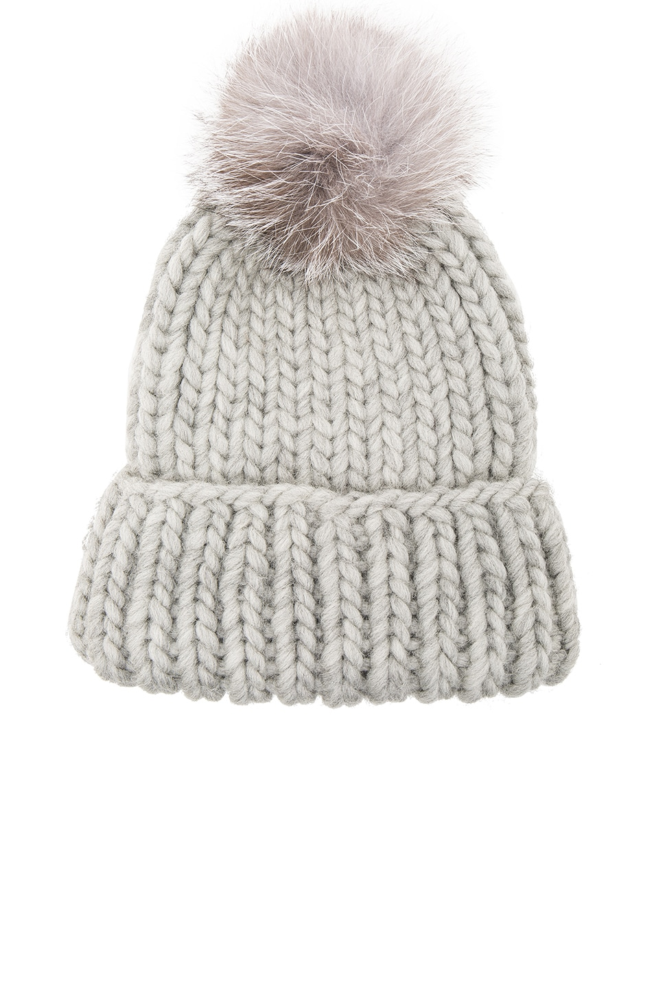 5a125f2828c Image 1 of Eugenia Kim Rain Beanie with Fox Fur Pom in Light Gray