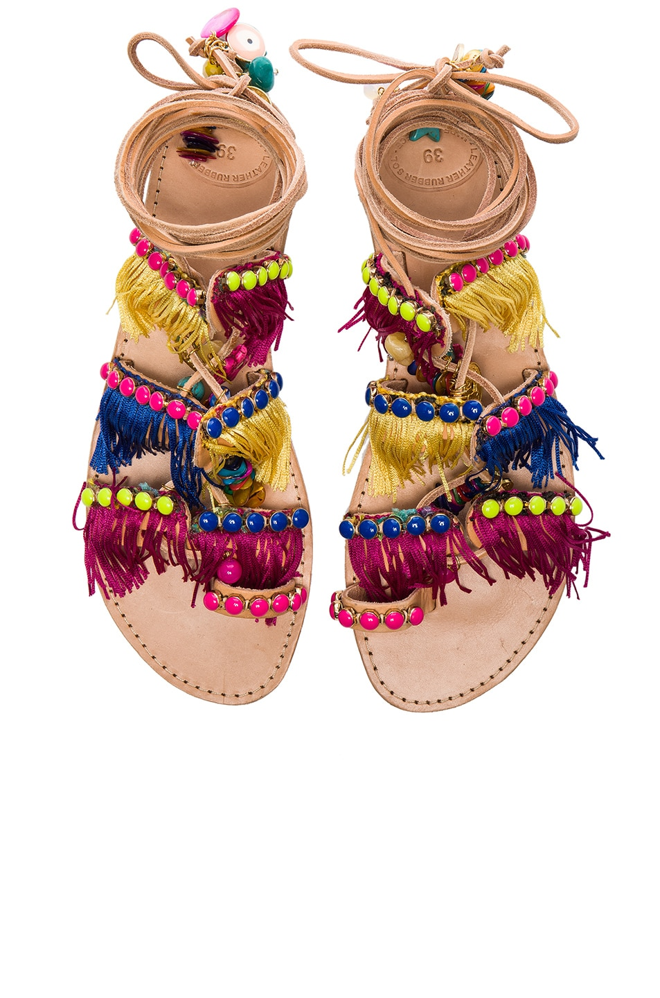 Image 1 of Elina Linardaki Leather Tahiti Sandals in Multi