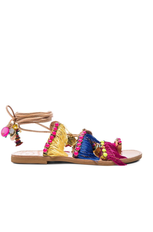 Image 2 of Elina Linardaki Leather Tahiti Sandals in Multi