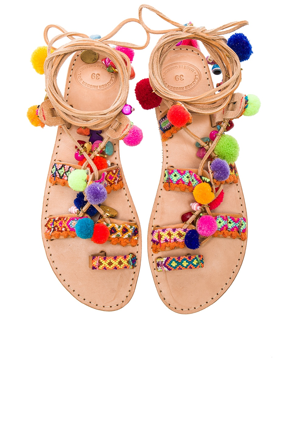 Image 1 of Elina Linardaki Penny Lane Leather Sandals in Multi