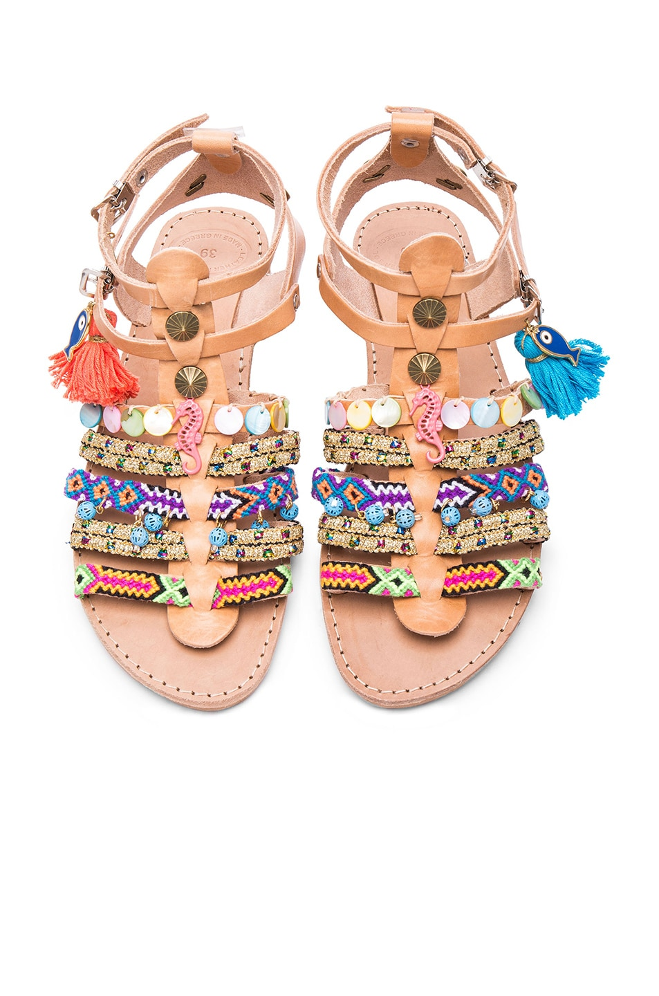 Image 1 of Elina Linardaki Saltwater Leather Sandals in Multi