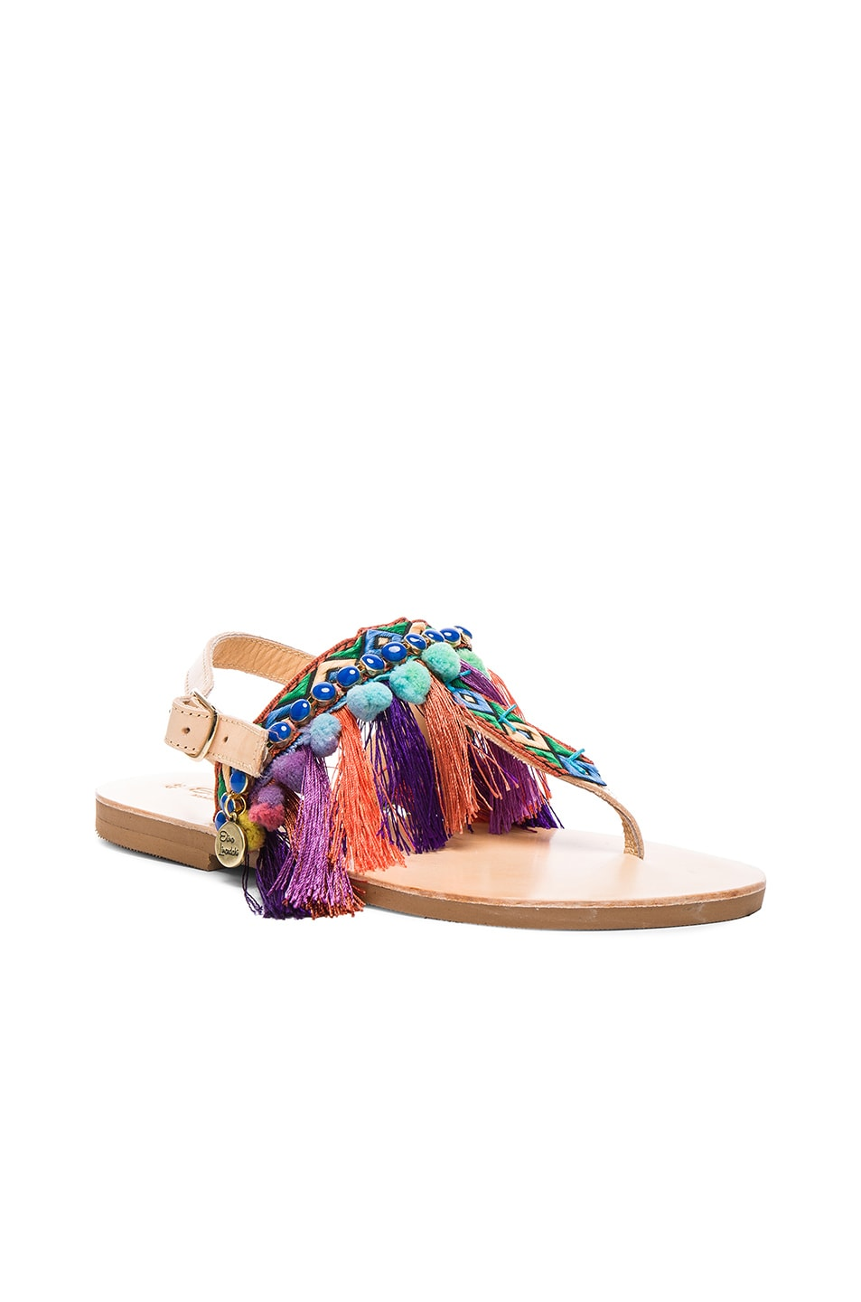 Image 3 of Elina Linardaki Leather Dizzy Parrot Sandals in Multi