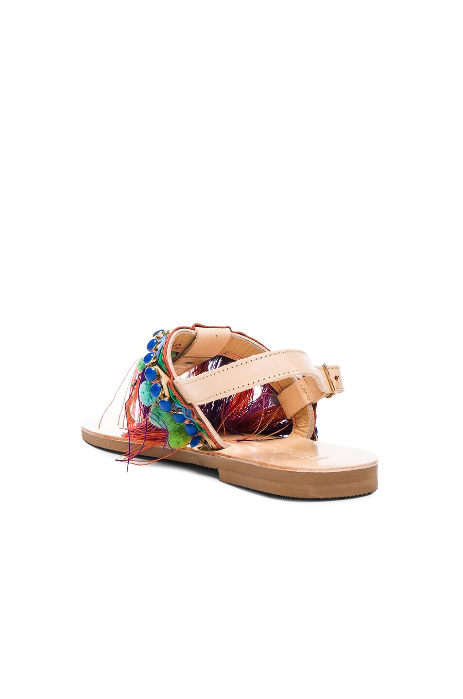 Image 4 of Elina Linardaki Leather Dizzy Parrot Sandals in Multi