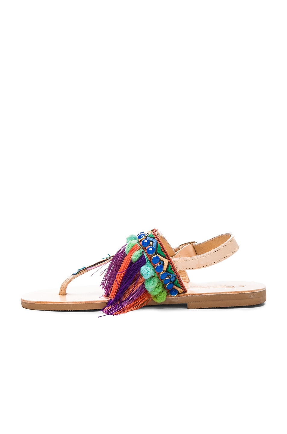 Image 5 of Elina Linardaki Leather Dizzy Parrot Sandals in Multi