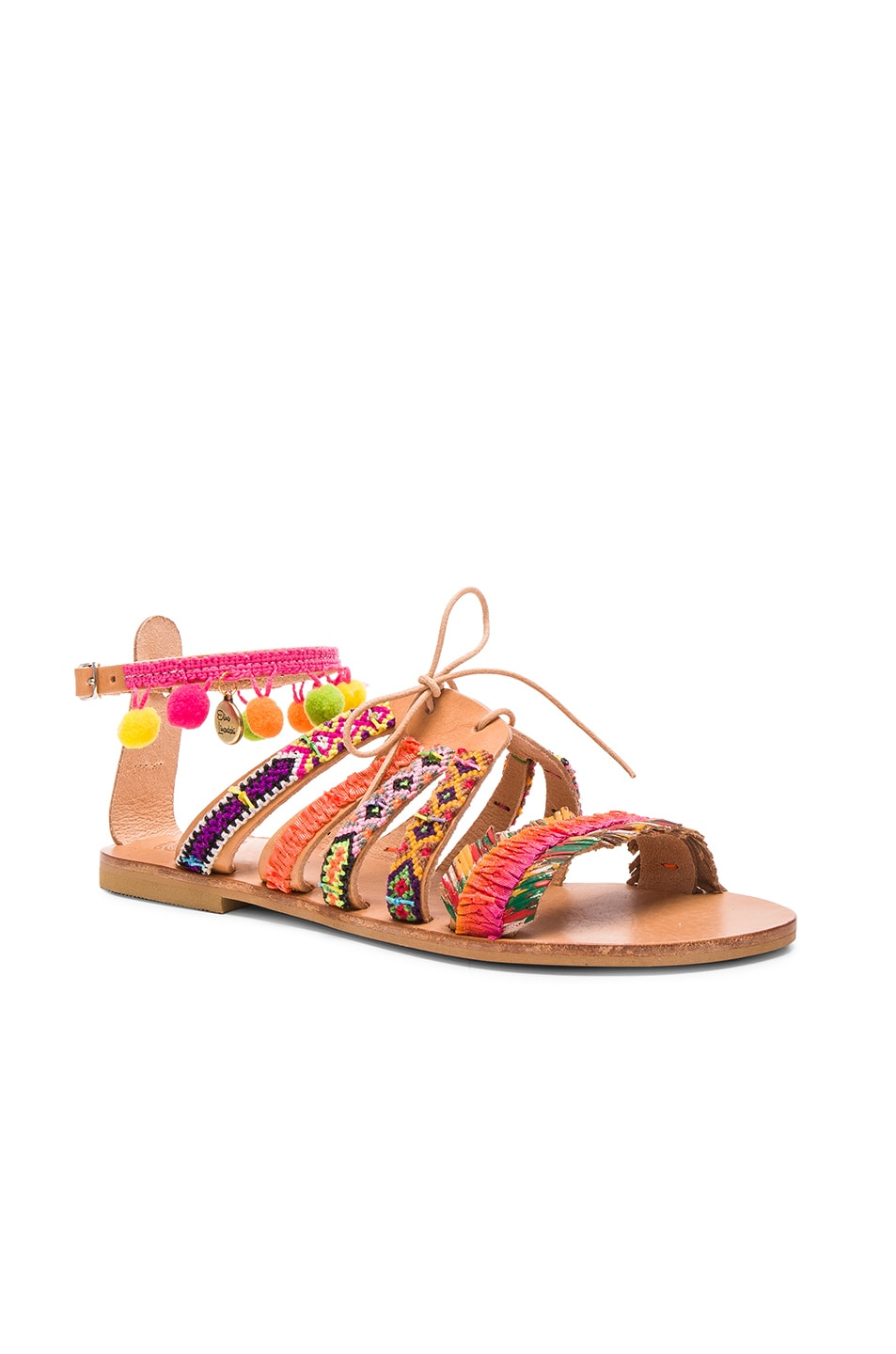 Image 3 of Elina Linardaki Leather Hula Hoop Sandals in Multi