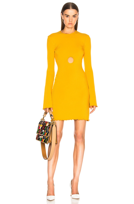 Ellery Holey Sunshine Kid Rib Dress in Yellow